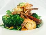 sweet potato salad and prawns 2
